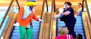 Woman Chases Clown Down An Escalator After Pie Slap!